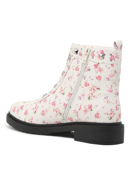 Women White Floral Boots - London Rag India