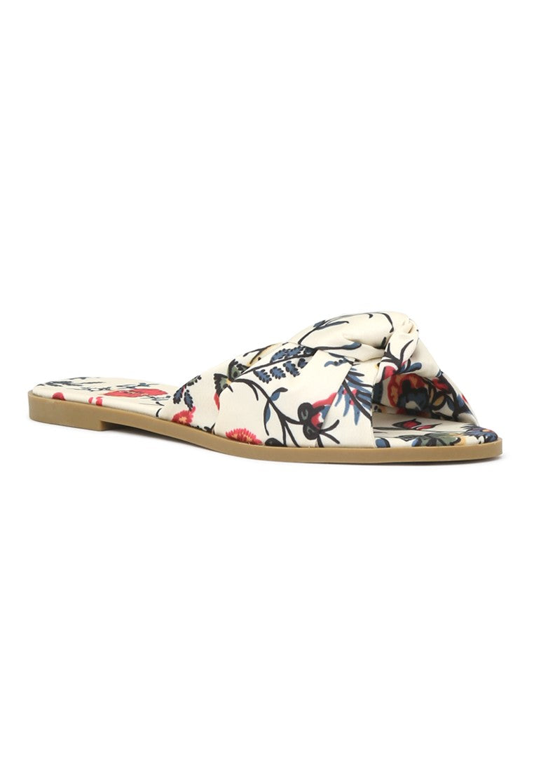 Womens Floral Printed Knotted Sandal - London Rag India
