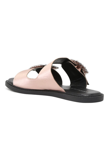 Womens Pink Double Strap Flat Satin Sandal - London Rag India