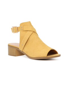 Women's Yellow Color Peep Toe Ankle Cut Strap Sandals - London Rag India
