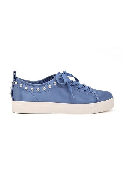 Shawna Women's Blue Metallic Pearl Lace Up Sneakers - London Rag India