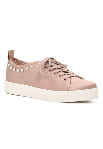 Shawna Women's Pink Metallic Pearl Lace Up Sneakers - London Rag India