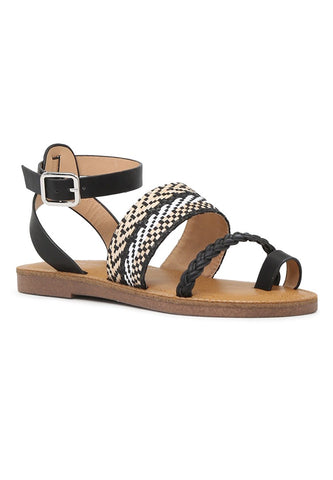 Black Florence Ankle Strap Flat Sandals - London Rag India