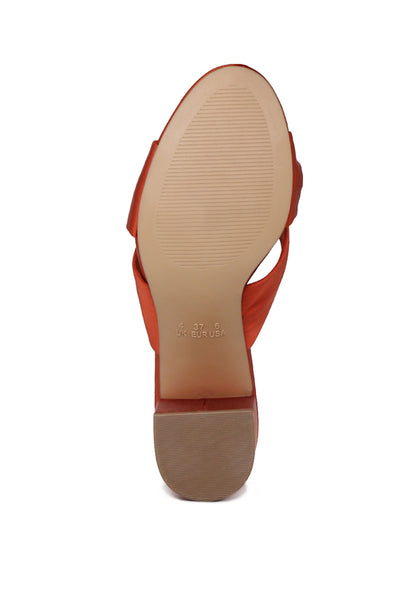 Womens Rust Block Heel Sandal - London Rag India