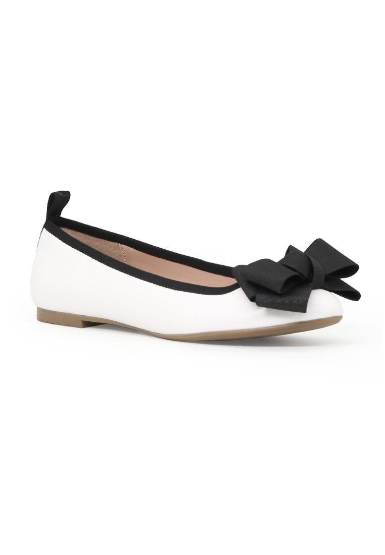 Women's White Flat Ballerina - London Rag India