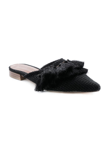 Black Tassel Flat Mules - London Rag India