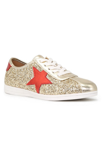 Gold Star Glitter Lace-Up Sneakers - London Rag India