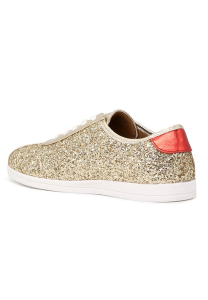 Womens Gold Star Glitter Lace-Up Sneakers - London Rag India