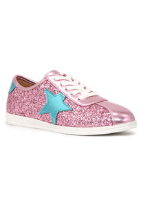 Womens Pink Star Glitter Lace-Up Sneakers - London Rag India