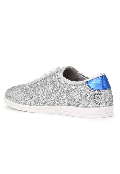 Silver Star Glitter Lace-Up Sneakers - London Rag India
