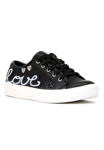 Black Love Print Lace-Up Sneakers - London Rag India