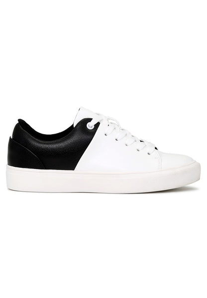 Black/White Lace-Up Sneakers - London Rag India