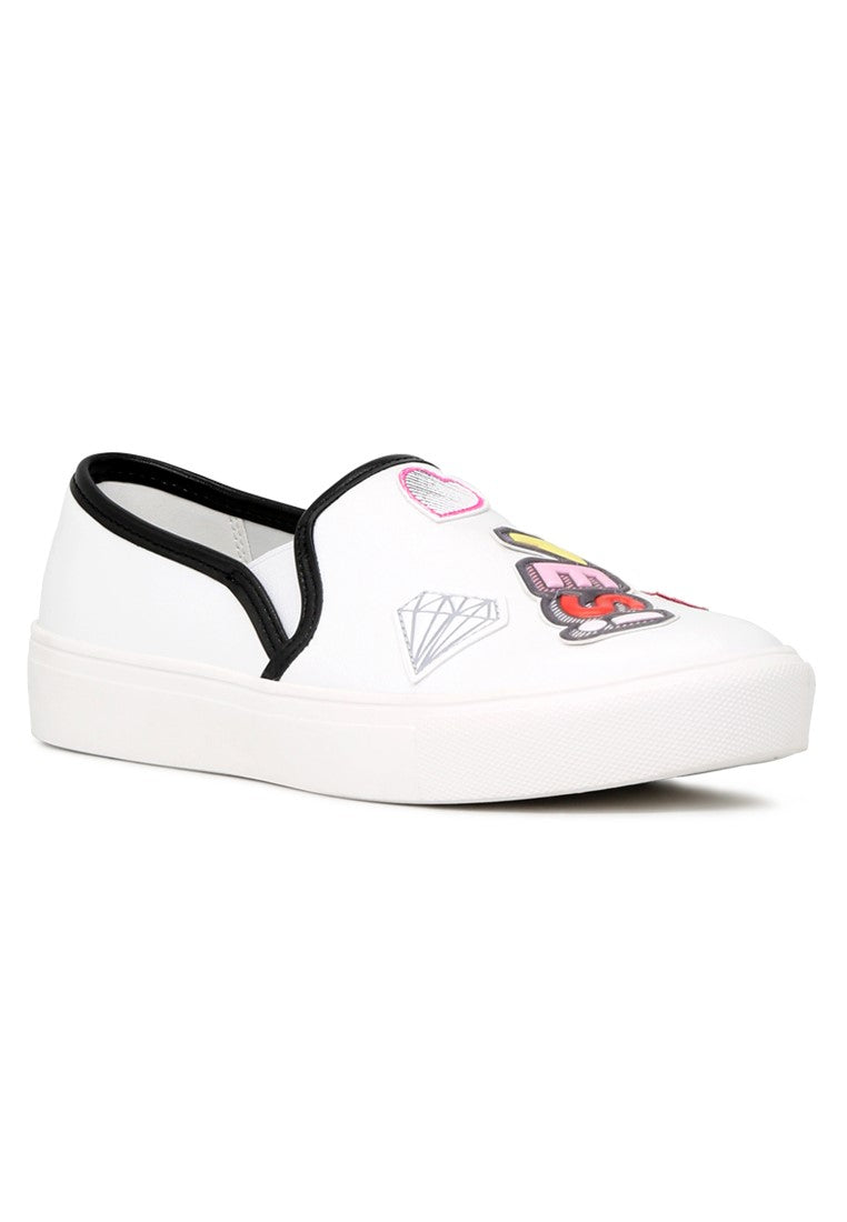 Womens White Yes Print Slip-On Sneakers - London Rag India