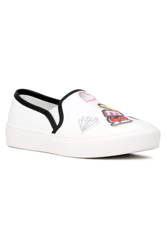 White Yes Print Slip-On Sneakers - London Rag India