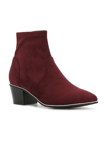 Womens Wine Red Mid Heel Boots - London Rag India