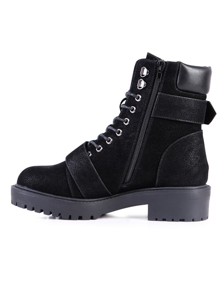 Adjustable Buckle Chunky Heel Boots - London Rag India