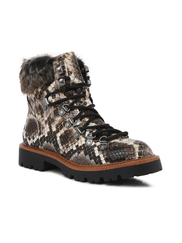Snake Print Faux Fur Cuff Boots - London Rag India
