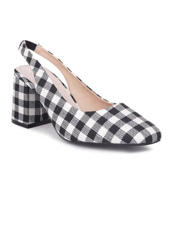 Gingham Check Heeled Slingback - London Rag India