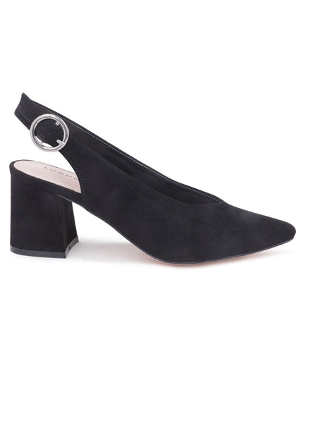 Solid Black Heeled Slingback - London Rag India