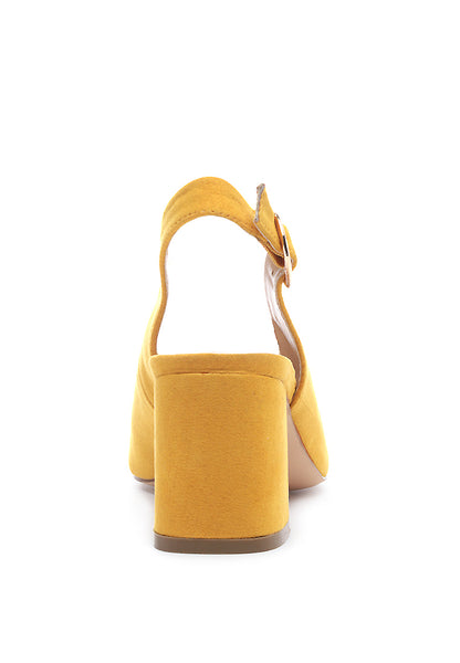 Solid Yellow Heeled Slingback - London Rag India