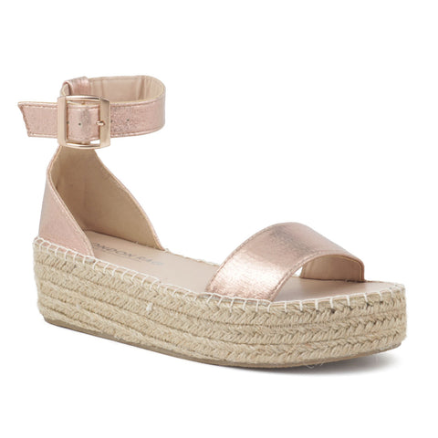 Rose Gold Espadrilles with braided Platform