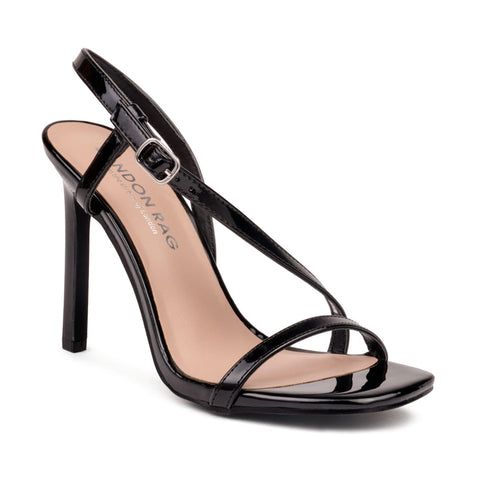 Black High Heel Strappy Ankle Strap Sandal