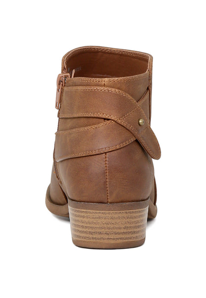 Womens Audrey Cognac Zipper Ankle Boots - London Rag India