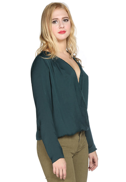 Green Satin Surplice Neck Casual Top - London Rag India