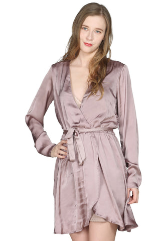 Light Pink Satin Wrap Dress - London Rag India