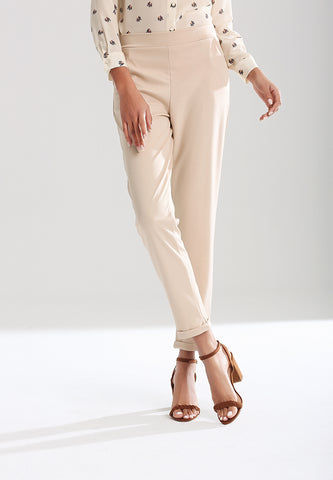 Beige Straight Fit Pants - London Rag India