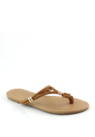 Womens Tan Thong Flat Flip Ons - London Rag India