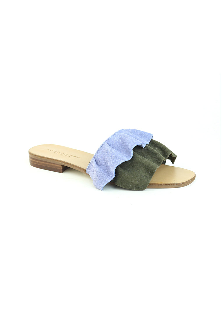 Womens Blue - Green Flat Frill Slip-On Sandal - London Rag India
