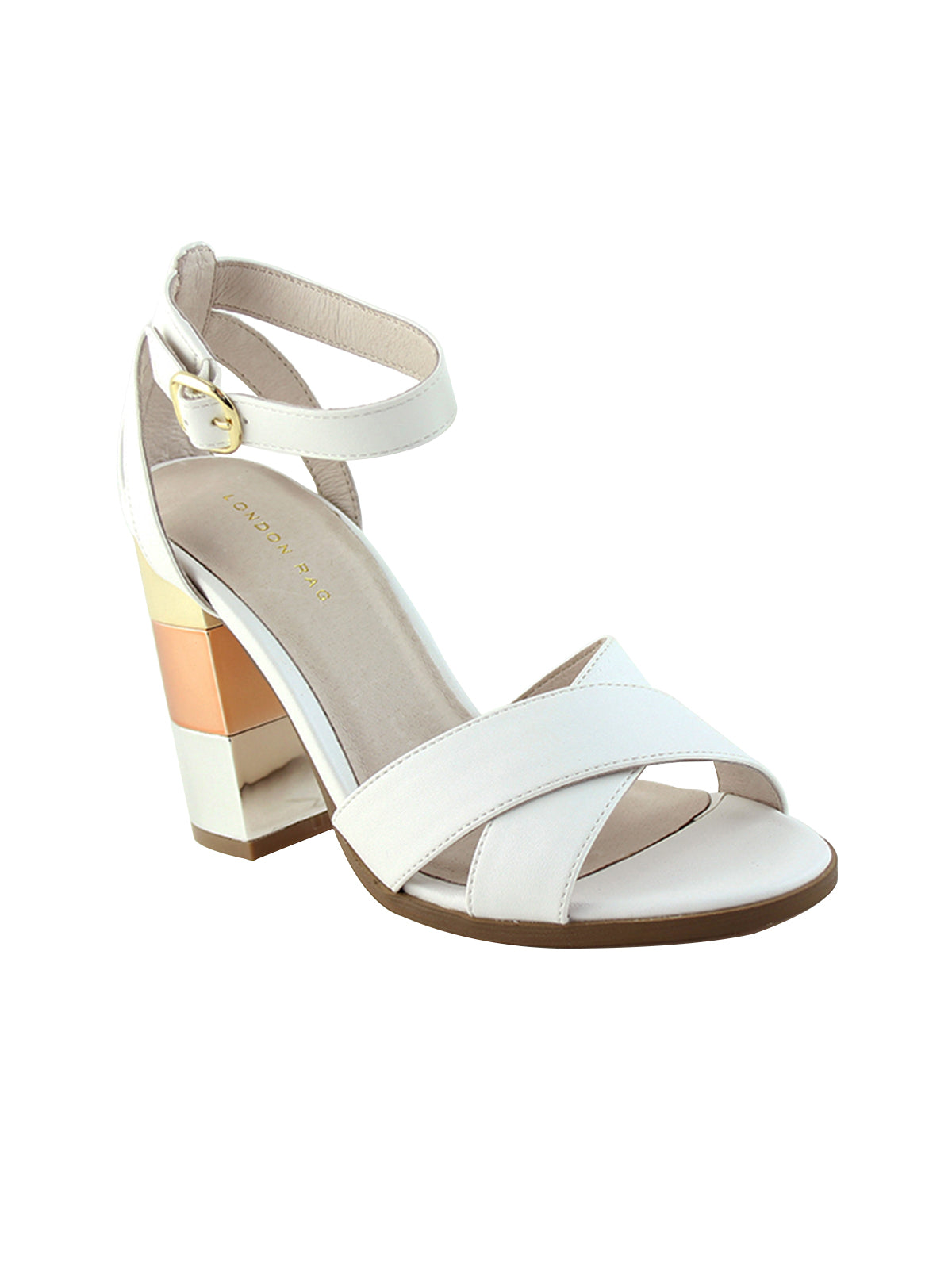 Womens White Mid- Heeled Sandals - London Rag India