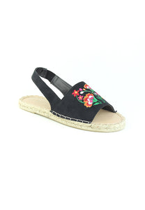 Womens Black Flat Embroidered Espadrilles - London Rag India