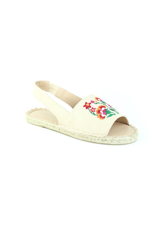 Womens Nude Flat Embroidered Espadrilles - London Rag India