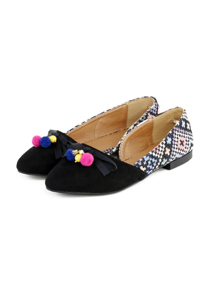 Black Printed Ballerina - London Rag India
