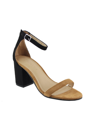 Black/Natural Heels Sandals - London Rag India