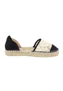 Womens Black Flat Fabric Sandals - London Rag India
