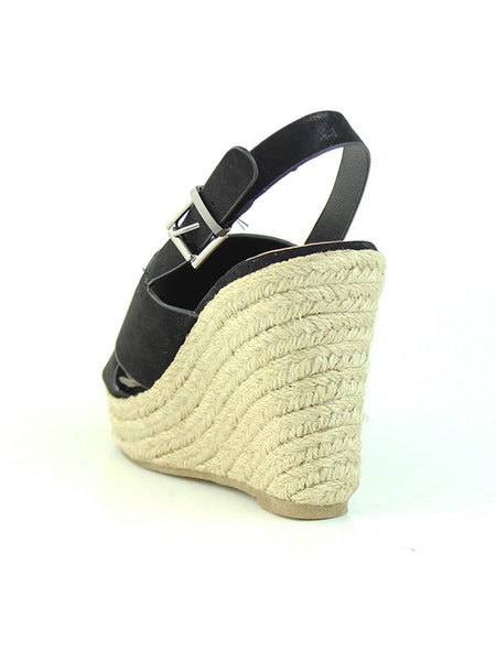 Womens Black Wedge Sandals - London Rag India