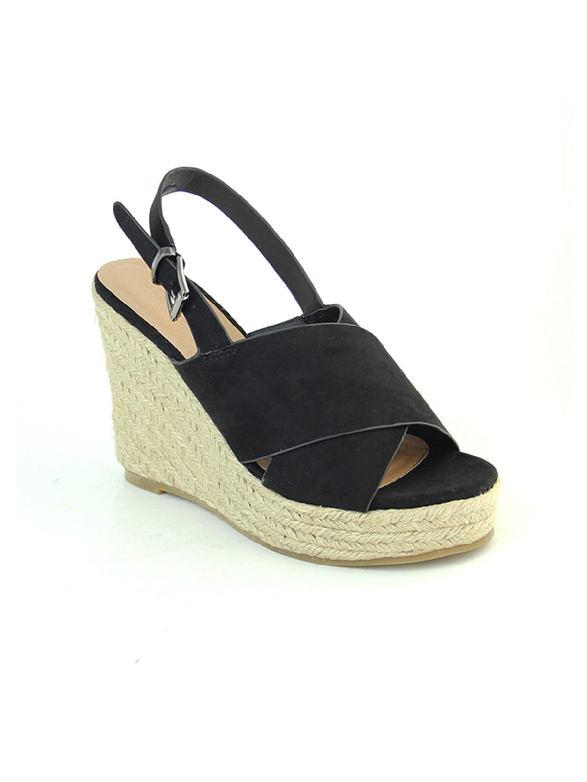 Black Wedge Sandals - London Rag India