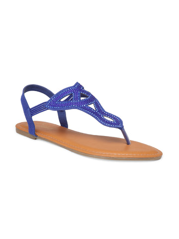 Womens Blue Flat Sandals - London Rag India