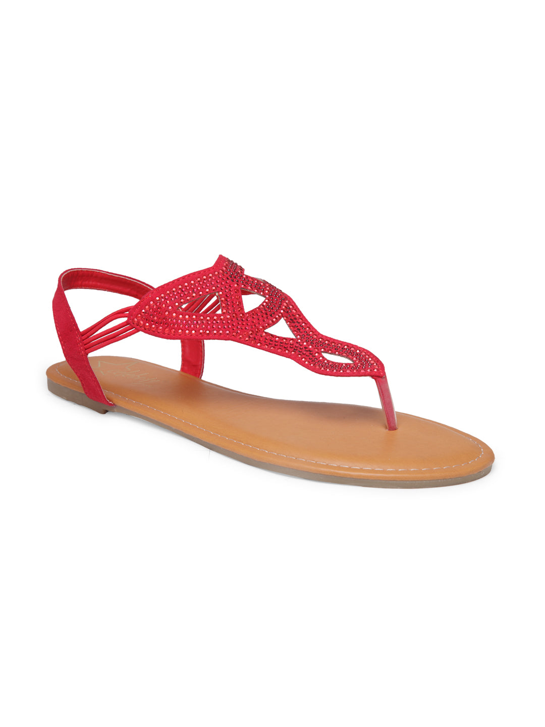 Womens Red Flat Sandals - London Rag India