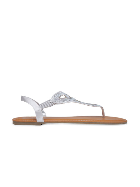 Womens Silver Flat Sandals - London Rag India