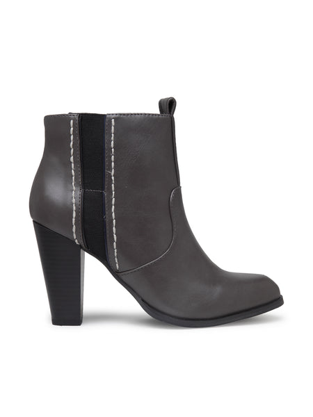 Women's Grey Heeled Ankle Boot - London Rag India