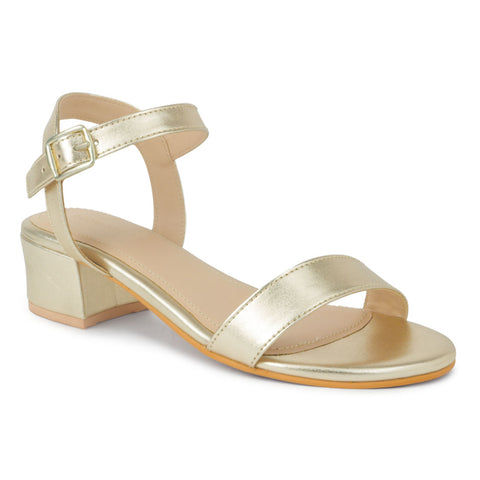 Gold Metallic Block Heel Sandal