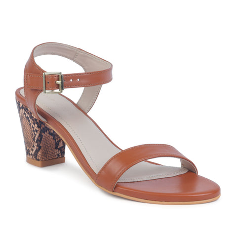 Tan Block Heel Sandals