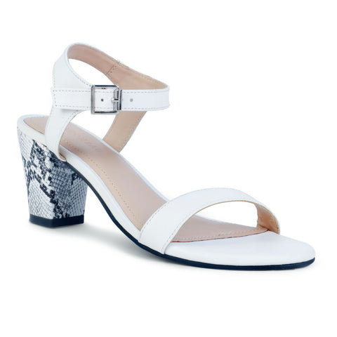 White Block Heel Sandals