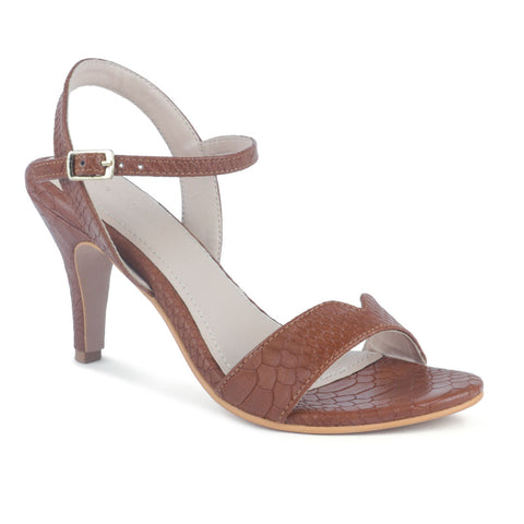 Textured Tan Stiletto Sandal