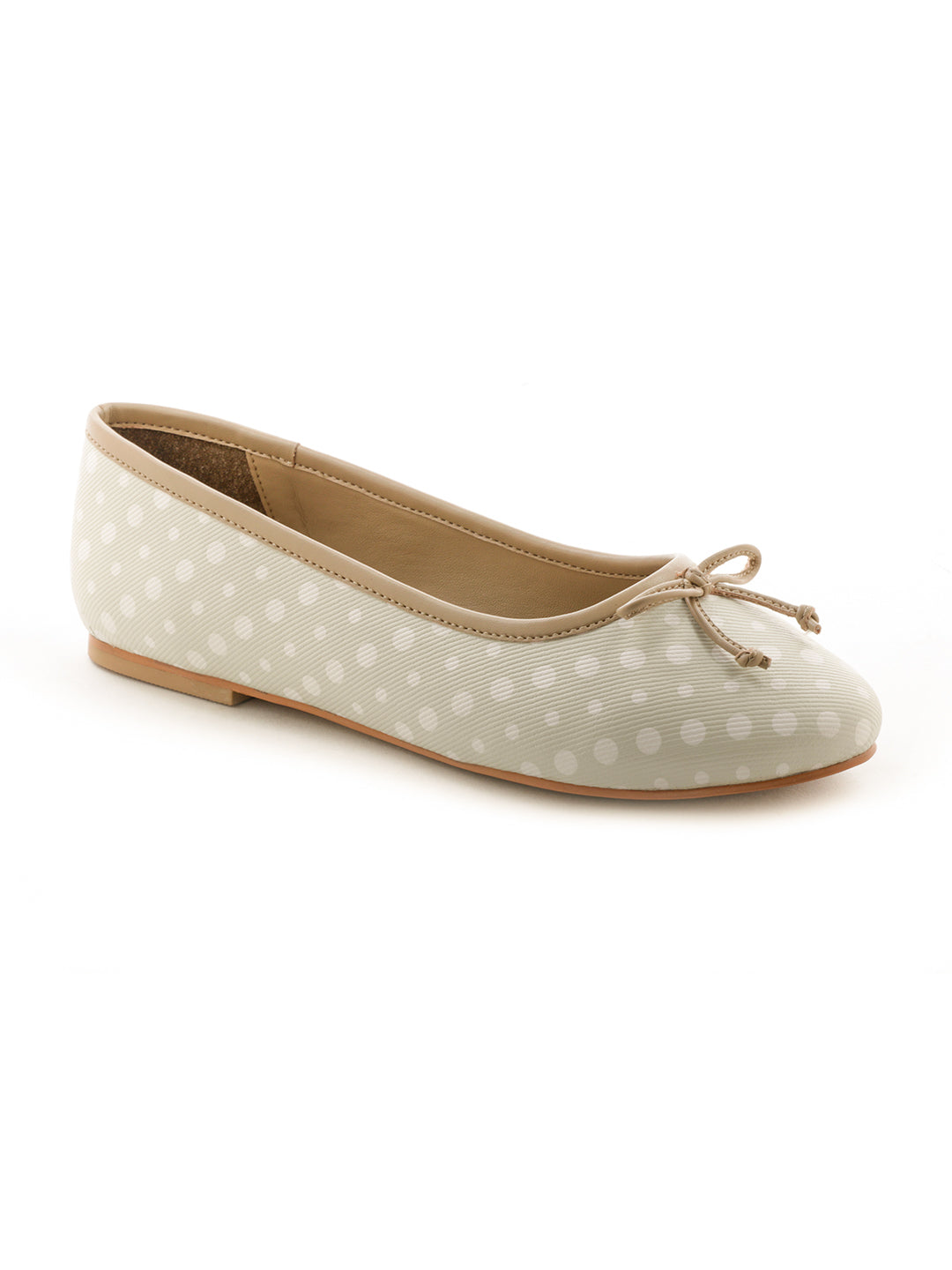 Womens Polka Dot Beige Ballerinas - London Rag India