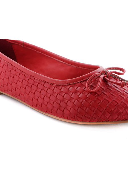 Womens Weaving Embossed Red Ballerinas - London Rag India